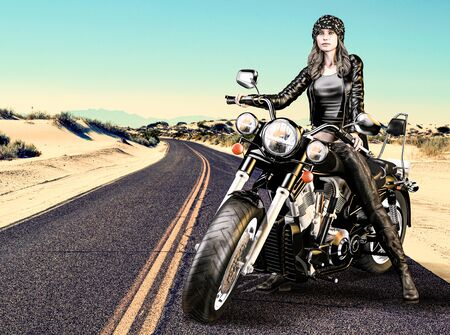 Attractive biker girl sits on her motorcycle in the desert, with 3d render