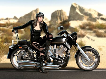 Attractive biker girl sits on her motorcycle in a hot desert, with 3d render