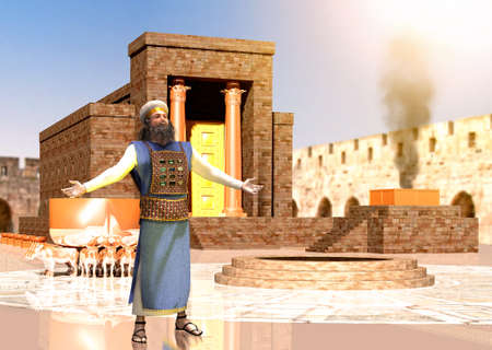 Biblical Jewish priest standing in front of King Solomon's holy temple in Jerusalem, Old Testament, the Temple of Solomon was the first holy temple of the ancient Israelites, 3d render