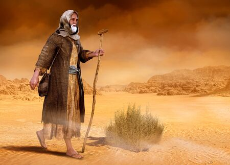 Biblical Moses walks through the Sinai desert, the wilderness, in search of the Promised Land, 3d render painting