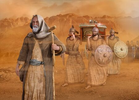 Biblical Moses leads the Israelites through the desert Sinai during the Exodus, in the wilderness, in search of the Promised Land with the Ark of the Covenant, 3d render painting