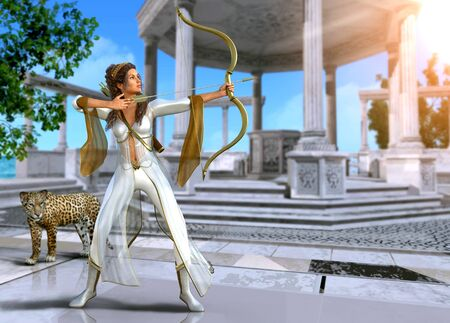 Artemis, enchanting Ancient Greek goddess of the hunt, in shooting pose with bow and arrow