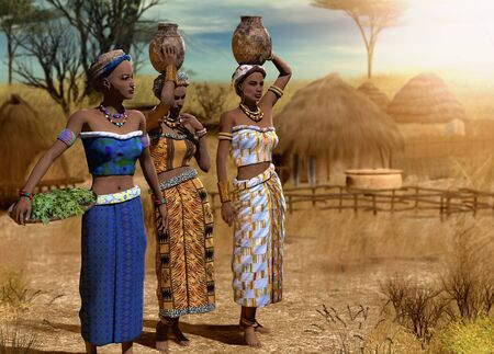 Beautiful traditional African women in a hut village in the Serengeti region, 3d render painting