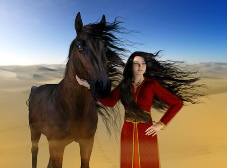 A beautiful Arabian princess and her horse in the desert, their long black hair blowing in the wind, 3d rendered painting