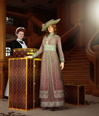 Beautiful young Edwardian woman going on a global voyage standing next to her suitcases and her maid, 3d rendered painting