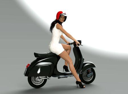 Ciao bella, piękna młoda kobieta prowadząca kultowy i stylowy włoski skuter, tło studyjne, renderowany obraz 3d Zdjęcie Seryjne