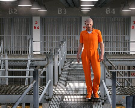 Prisoner, felon and truly bad boy in familiar orange detention clothing, in lock down prison block, 3d render painting