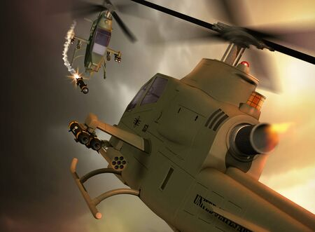 Two Cobra attack helicopters engaged in a fierce battle in the sky, firing  air-to-air hellfire missiles,  3d render illustration 版權商用圖片