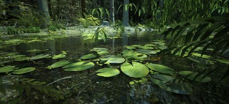 Scenic enchanting, lush, magical forest with a pond and water lilies, 3d render 版權商用圖片