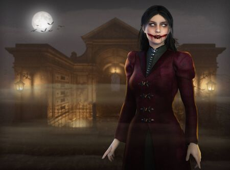 Beautiful and scary Halloween vamipre woman at night in a graveyard hunting human prey for their blood, 3d render