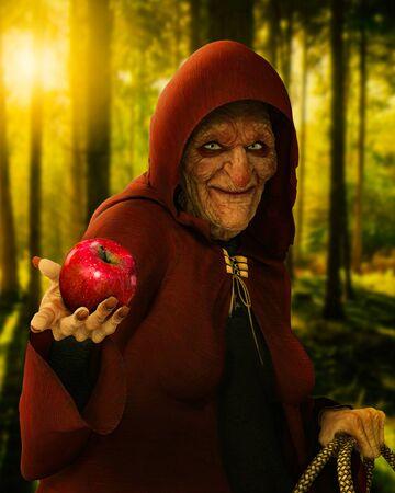 Märchenhafte böse alte Hexe, die einen vergifteten roten Apfel in der Dämmerung in einem tiefen Wald hält, Szene aus der Geschichte Schneewittchen, 3D-Rendering