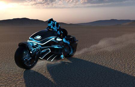 Futuristic high-tech female biker girl on motorcycle speeding through a desert at sunset, 3d render illustration
