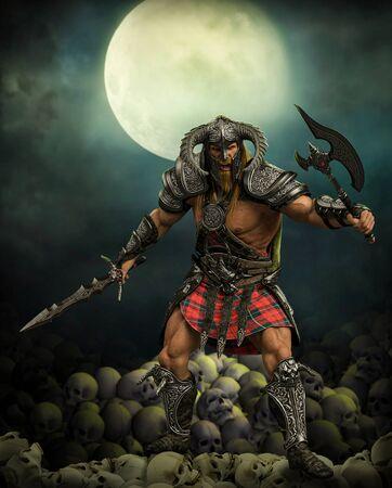 Terryfying guerrero de fantasía bárbaro en una pose de lucha sobre un montón de cráneos bajo la luna llena, 3D Render