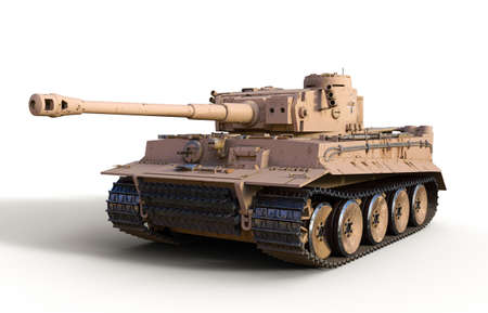 Legendary heavy German Tiger tank from WWII, isolated on white background, 3d render