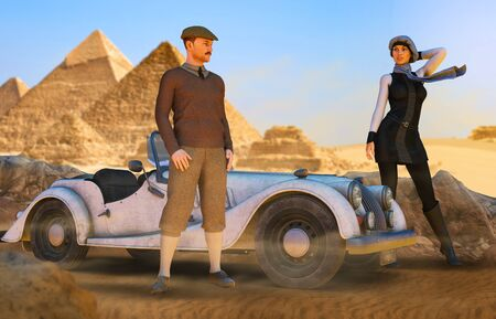 Young couple of aristocratic luxury travelers with a sportscar near the pyramids in 1940s Egypt, 3d render