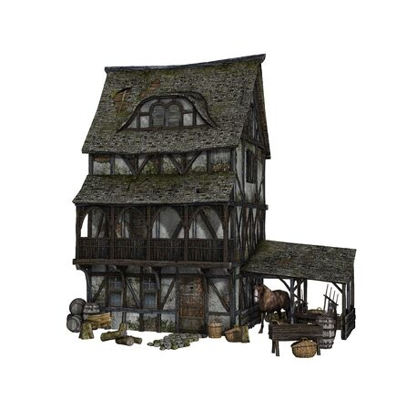 Detailed reconstruction of a Medieval house isolated on white background, 3d render. Zdjęcie Seryjne