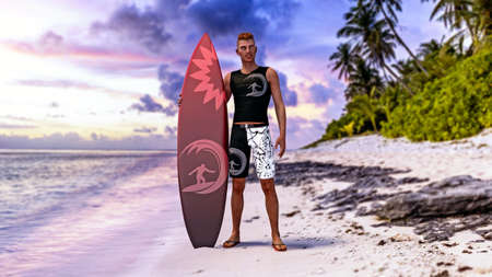Surfer guy posing with his surfboard on a tropical beach at sunset, 3d render.