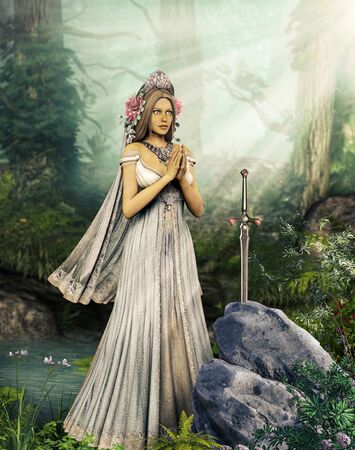 Lady of the Lake is praying to the sword Excalibur, illustration inspired by the legend of King Arthur, 3d render.