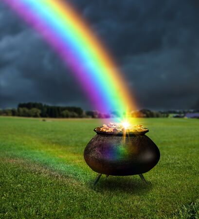 A magical pot, cauldron full of gold at the end of a raibow, 3d render elements.