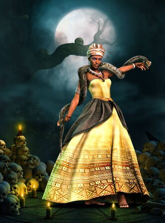 Beautiful Voodoo Queen with a snake, performing a magical ritual on an altar framed by skulls and candles, 3d render.