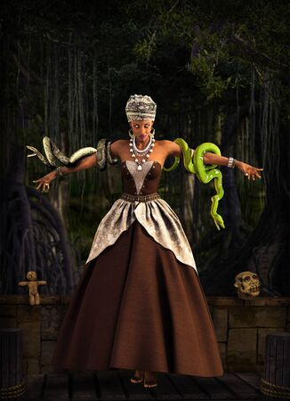 Beautiful Voodoo Queen with a snakes, performing a magical ritual in a swamp area, 3d render. Zdjęcie Seryjne