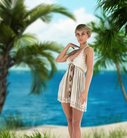 Beautiful woman in a soft sweet dress on tropical beach relaxing under palm trees, 3d render.