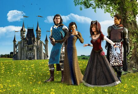 Medieval princes and princesses couples walk in the country, talking happily next to their castle, 3d render.