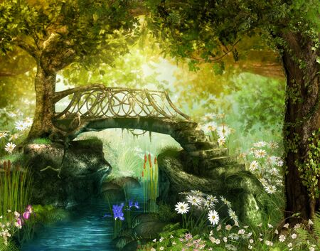 Magical lush fairy tale forest with an enchanting bridge over a brook, 3d render. Zdjęcie Seryjne