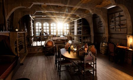 Captains cabin below deck on a pirate sailing ship, 3d render recreation