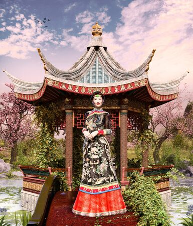 Beautiful Chinese Jade princess in an enchanting Asian classical garden and Chinese pavilion and pond, traditional landscaping, 3d render.