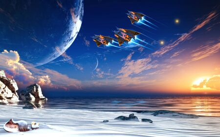 Futuristic sciFi battle space ships flying over the ocean of an alien planet, 3d render illustration. Zdjęcie Seryjne
