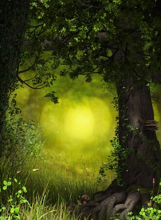 Enchanting fantasy fairy tale forest background for your artistic creations, 3d render painting.