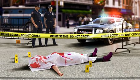 A crime scene with a dead body and yellow tape in foreground,  in North America, 3d render illustration.