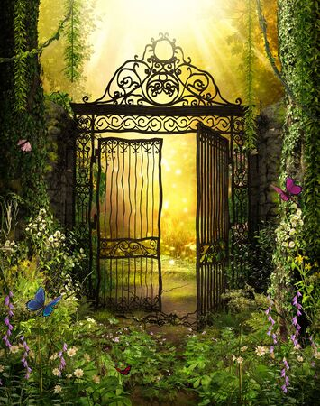 An open iron gate leads to an enchanting secret garden surrounded by ivy covered trees, 3d render. Zdjęcie Seryjne