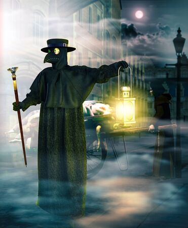 Plague doctor with protective mask picking up dead pandemic vitims at night, 3d render.
