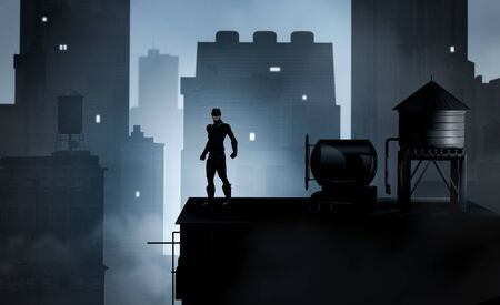 A heroic costumed Superhero on a rooftop overlooking a cityscape, dramatic perspective, 3d render.