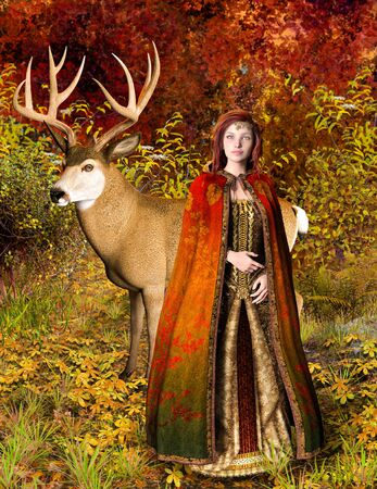 Beautiful autumn princess with a deer in an enchanting fairy forest, 3d render. Zdjęcie Seryjne