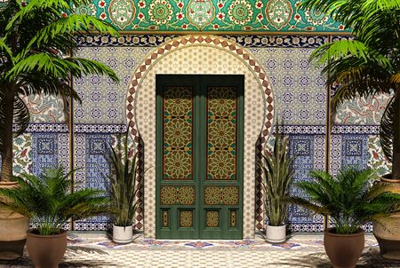 3D rendering of an traditional Arabic home facade with a front door, yard and palm trees, 3d render.