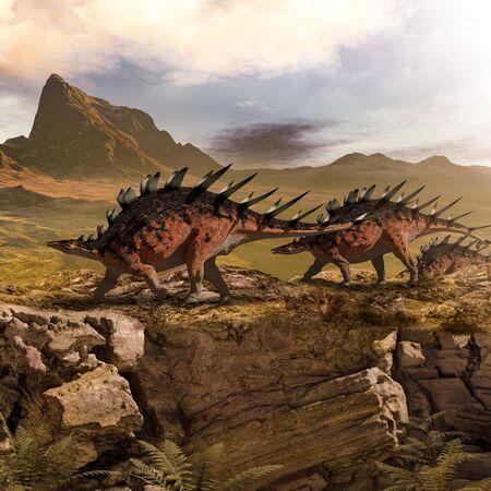Concept of a herd of Kentrosaurus dinosaurs marching in a prehistoric landscape, 3d render. Zdjęcie Seryjne