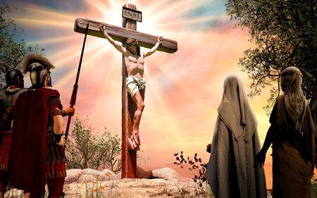 Jesucristo en la cruz de madera, INRI, crucifixión, ilustración 3d