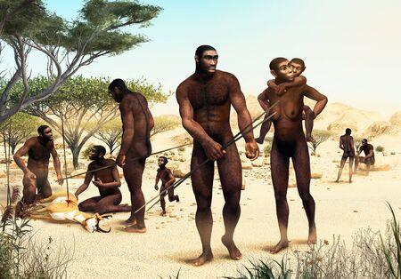 Homo Erectus tribe hunting, prehistoric ancestor of modern humans 1.8 million years ago, 3d render illustration