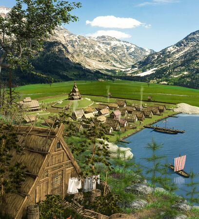 Medieval wooden Viking village with harbor and ships, 3d render 写真素材