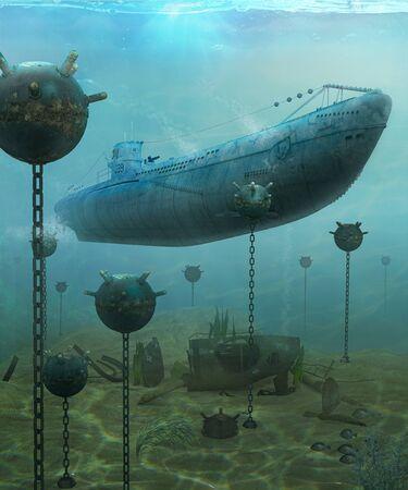 German WWII u-boat submarine navigating through an explosive naval underwater minefield, 3d render 写真素材