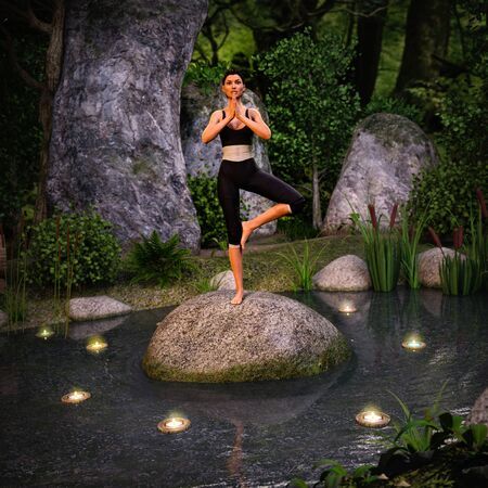 An attractive fit young woman doing a yoga pose for life balance and stretching on a rock at the center of an enchanted pond in a forest, 3d render Zdjęcie Seryjne