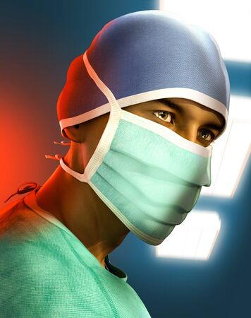 Portrait of an exhausted, tired hero doctor wearing a face mask in a hospital during the Corona virus crisis, 3d render illustration