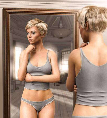 Beautiful young woman in her underwear looking at her mirror image, 3d render