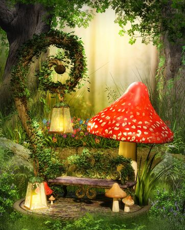 Enchanting fairy lounge bench in a deep magical forest illuminated by lanterns, 3d render.