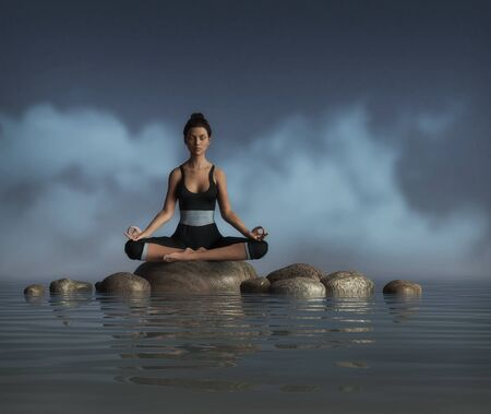 Beautiful young woman does a sitting meditation and Yoga pose on a rock in the water, joins the glory of life, 3d render.