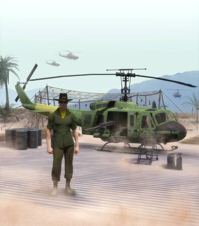 American officer and helicopter pilot standing in front of a US army Huey helicopter during the Vietnam war, 3d render.