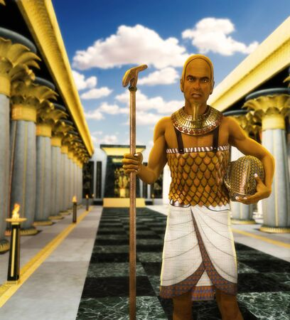 Egyptian Pharaoh Ramses II in his throne hall, holding his sceptre and blue crown, 3d render.